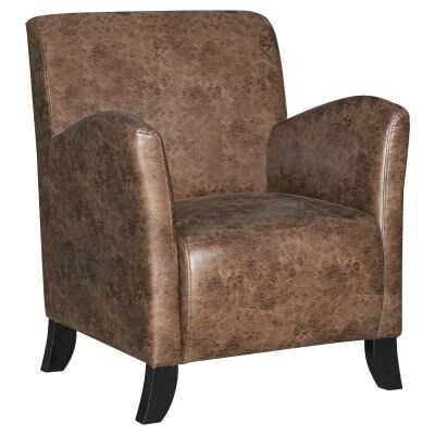 Balmoral Vintage Faux Leather Armchair, Brown