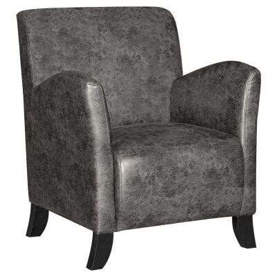 Balmoral Vintage Faux Leather Armchair, Dark Grey