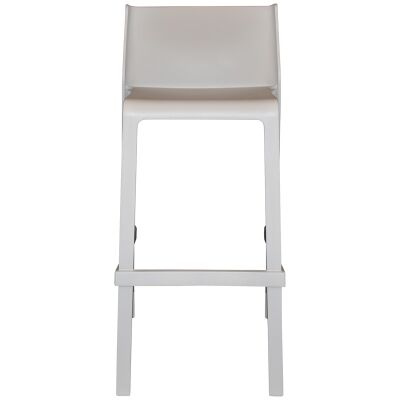 Trill Italian Made Commercial Grade Indoor / Outdoor Stackable Bar Stool, Light Grey
