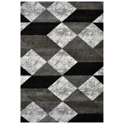 Studio Lathan Turkish Made Modern Rug, 170x120cm, Grey / White