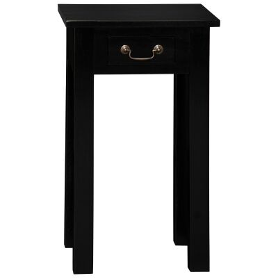 Malacca Mahogany Timber Single Drawer Side Table, Black