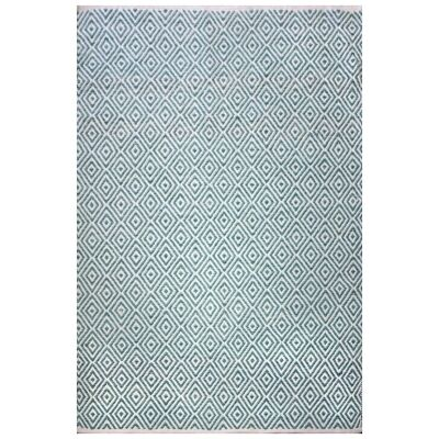 Wilcannia Handwoven Cotton Rug, 290x190cm, Turquoise