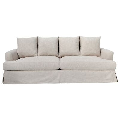 Kentlyn Fabric Slipcovered Sofa, 4 Seater, Khaki