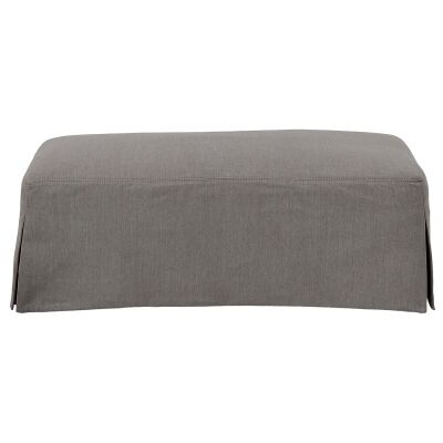 Kentlyn Fabric Slipcovered Ottoman, Slate