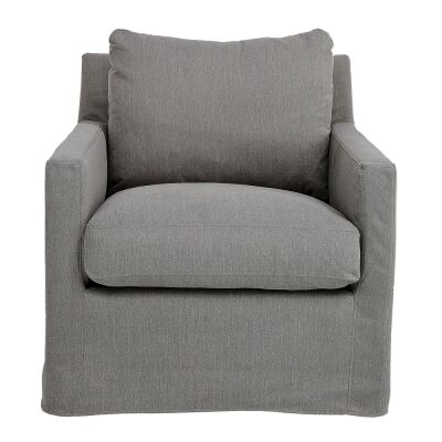 Darrington Fabric Slipcovered Swivel Armchair, Slate