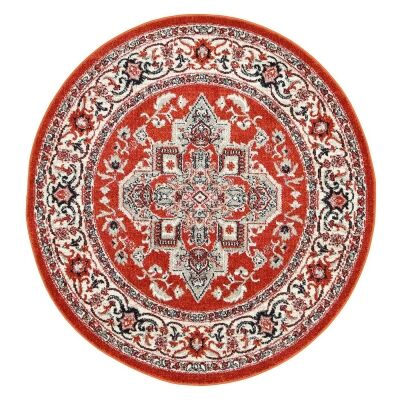 Symphony Elixir Oriental Round Rug, 160cm, Rust