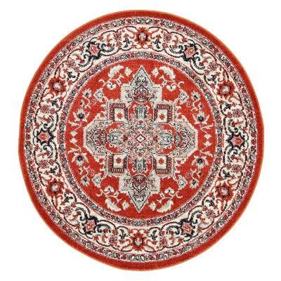 Symphony Elixir Oriental Round Rug, 200cm, Rust