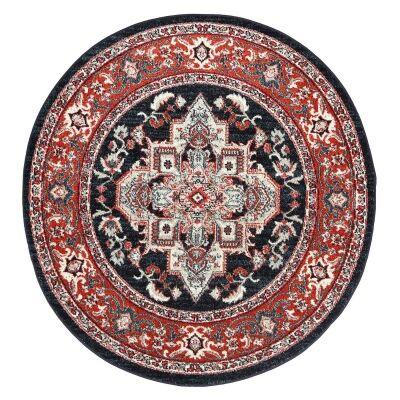 Symphony Elixir Oriental Round Rug, 200cm, Red / Navy