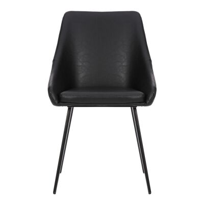 Shogun Commercial Grade Faux Leather Dining Chair, Vintage Black