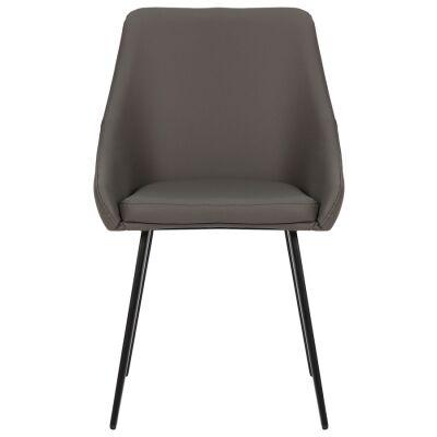 Shogun Commercial Grade Faux Leather Dining Chair, Dark Grey