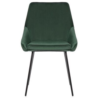 Shogun Commercial Grade Velvet Fabric Dining Chair, Green