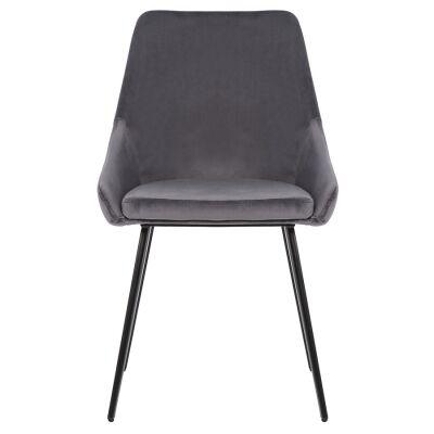Shogun Commercial Grade Velvet Fabric Dining Chair, Grey