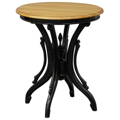 Jolie Solid Mahogany Timber Round Wine Table, Black/Caramel