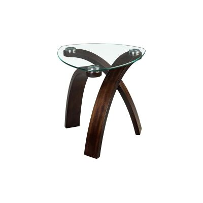 Allure Glass & Cherry Wood Side Table