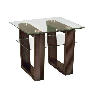 Cordoba Glass & Cherry Wood Lamp Table