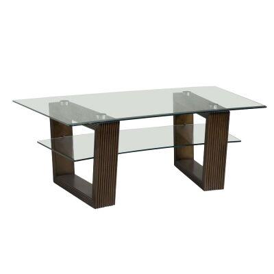 Cordoba Glass & Cherry Wood Coffee Table, 127cm