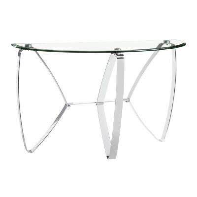 Nico Glass & Metal Demilune Sofa Table, 117cm