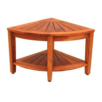 Bath Teak Solid Teak Timber Corner Table with Shelf