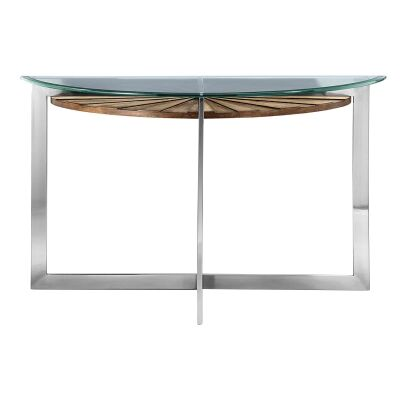 Rialto Glass & Metal Demilune Sofa Table, 117cm
