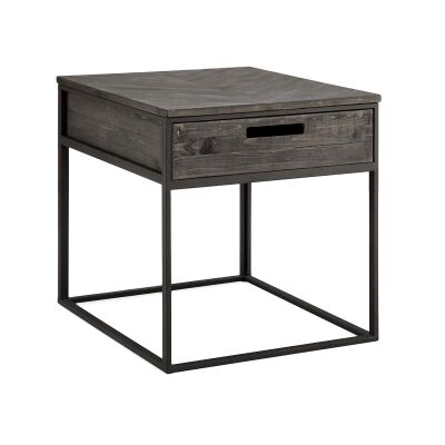 Stanhope Pine Timber & Metal Side Table