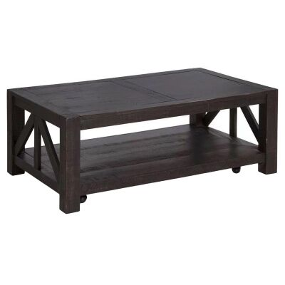 Griffith Pine Timber Coffee Table, 127cm, Ebony