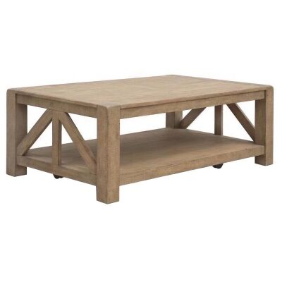 Griffith Pine Timber Coffee Table, 127cm, Natural