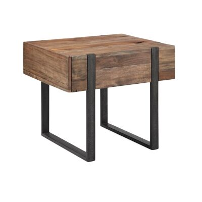 Prescott Reclaimed Pine Timber & Metal Chairside Table
