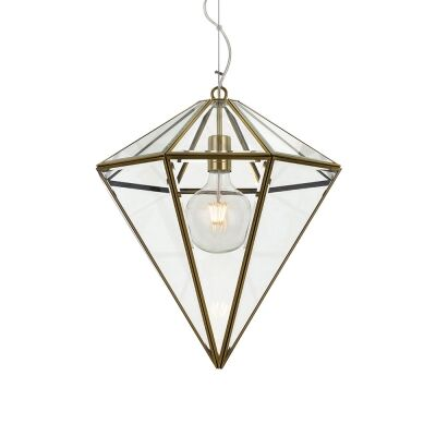 Talia Metal & Glass Pendant Light, Small, Antique Brass