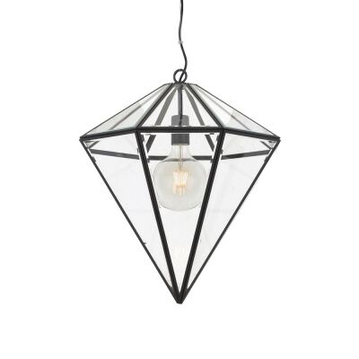 Talia Metal & Glass Pendant Light, Small, Black