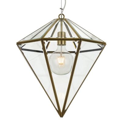 Talia Metal & Glass Pendant Light, Large, Antique Brass