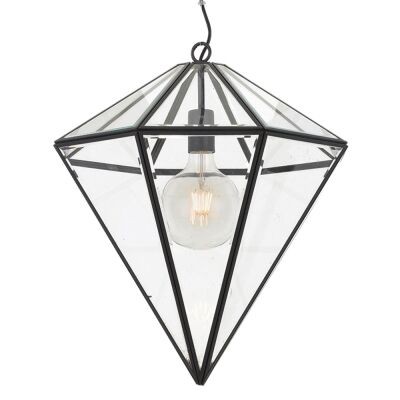 Talia Metal & Glass Pendant Light, Large, Black
