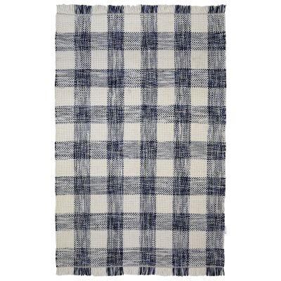 Tartan Traditional Wool Rug, 225x155cm, Blue