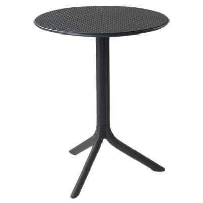 Step Italian Made Commercial Grade Indoor / Outdoor Round Table, Anthracite