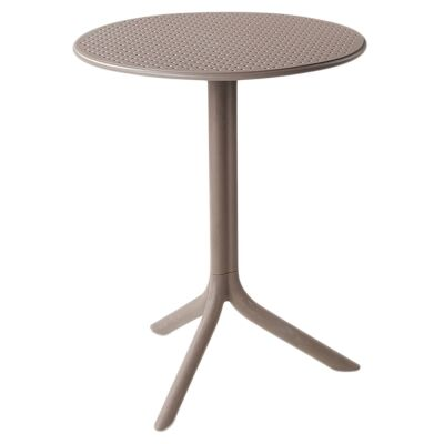 Step Italian Made Commercial Grade Indoor / Outdoor Round Table, Taupe