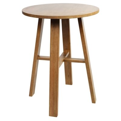 Chunk Commercial Grade Rubberwood Round Bar Table, 80cm, Light Oak