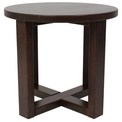 Chunk Commercial Grade Rubberwood Side Table, Walnut