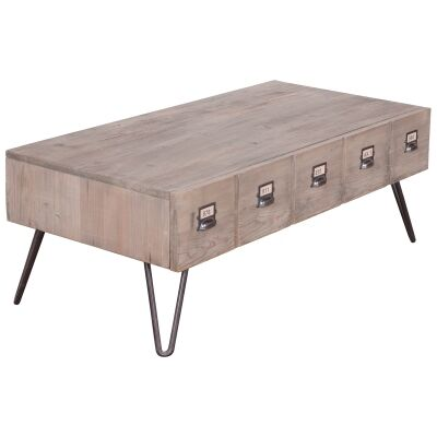 Crosby Reclaimed Pine Timber Coffee Table, 120cm