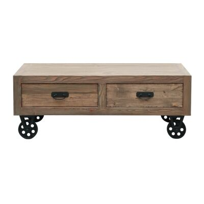 Gordon Reclaimed Pine Timber 4 Drawer Coffee Table with Steel Castors, 110cm
