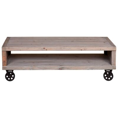 Gordon Reclaimed Pine Timber Coffee Table with Steel Castors, 140cm