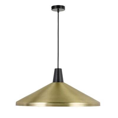Temo Metal Pendant Light, Large, Brass / Black