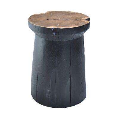 Tropica Woody Commercial Grade Reclaimed Teak Timber Mushroom Stool, Black