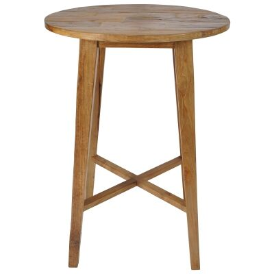 Tropica Woody Commercial Grade Reclaimed Teak Timber Round Bar Table, 80cm