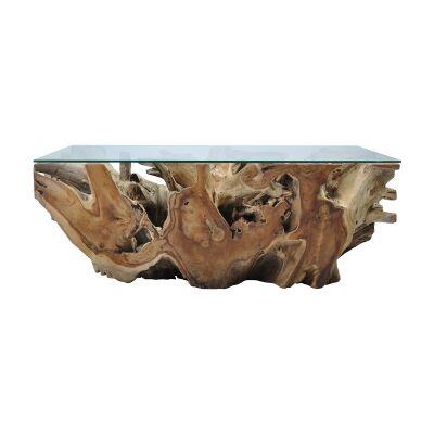Tropica Tika Commercial Grade Glass & Reclaimed Teak Root Coffee Table, 120cm