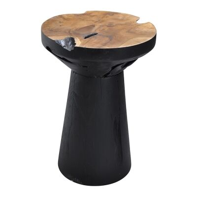 Tropica Obie Commercial Grade Reclaimed Teak Timber Side Table, Black