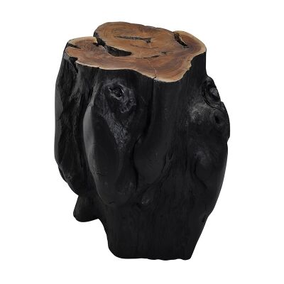 Tropica Log Commercial Grade Teak Timber Accent Stool / Side Table, Black