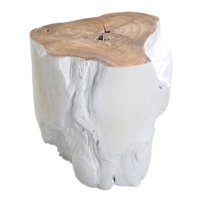 Tropica Log Commercial Grade Teak Timber Accent Stool / Side Table, White