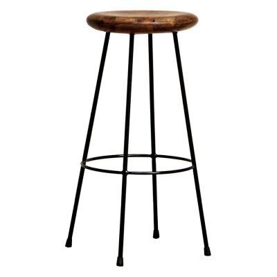 Tropica Ironworx Timber & Metal Round Bar Stool, Black