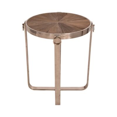 Welwyn Recycled Elm Timber & Stainless Steel Round Side Table