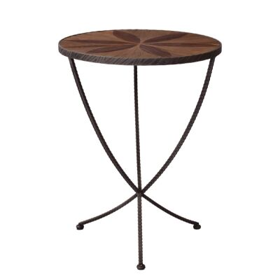 Aldbury Parquet Elm Timber & Iron Round Wine Table, 54cm