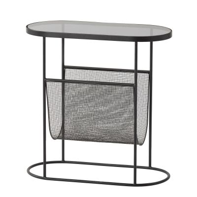 Hyde Glass Topped Iron Side Table